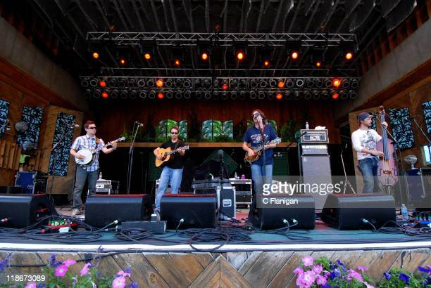 Yonder Mountain String Band during The 34th Annual Telluride Bluegrass Festival Day 2 Yonder Mountain String Band at Town Park in Telluride Colorado...