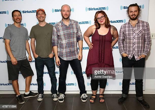 Yonder Mountain String Band musicians Dave Johnston Ben Kaufmann Adam Aijala Allie Kral and Jake Joliff visit the SiriusXM Studios on July 6 2015 in...