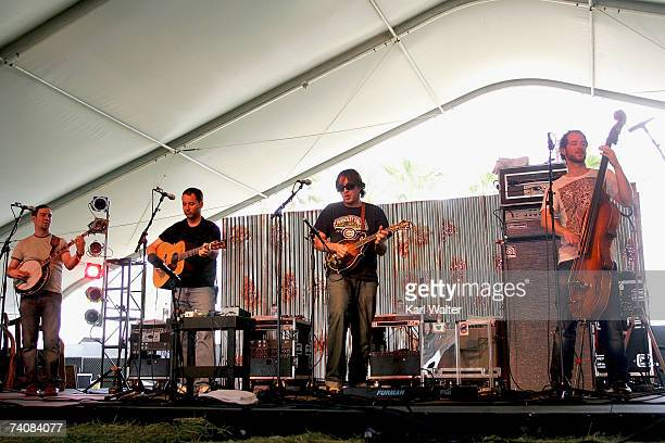 Yonder Mountain String Band perform during day 1 of the Inaugural Stagecoach Country Music Festival held at the Empire Polo Field on May 5 2007 in...
