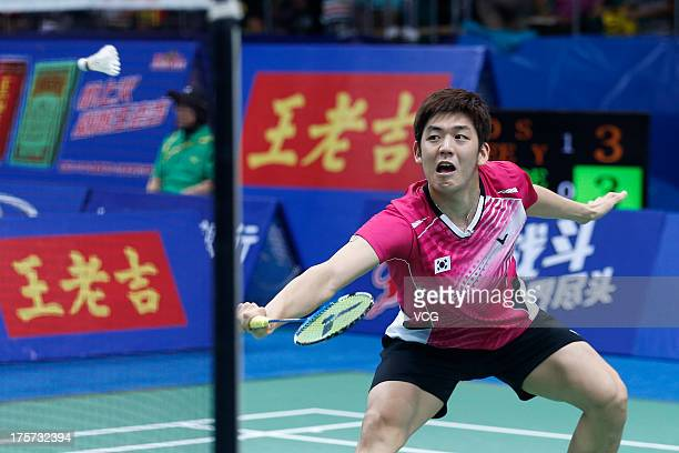 Yong Dae Lee of South Korea in action during the men's doubles match against Rasmus Bonde and Mads ConradPetersen of Denmark on day three of the 2013...