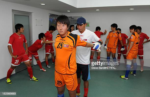 Yong Hwa Rim of the Korea DPR team warms up before the FIFA U17 Women's World Cup 2012 group B match between Korea DPR and Gambia at Baku 8KM Stadium...