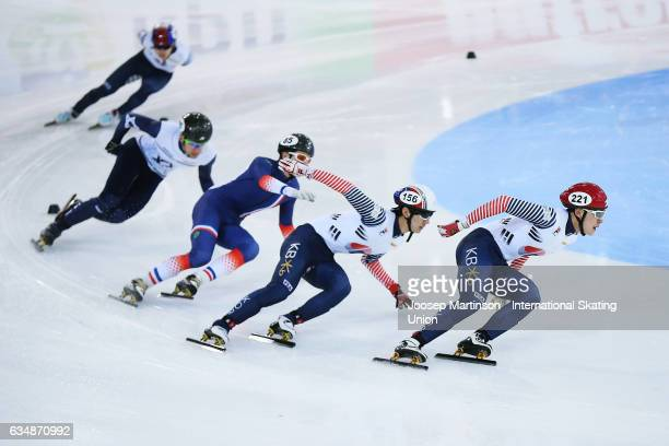 Yong Jin Lim of Korea leads the pack in the Men's 500m semi final during day two of the ISU World Cup Short Track at Minsk Arena on February 12 2017...
