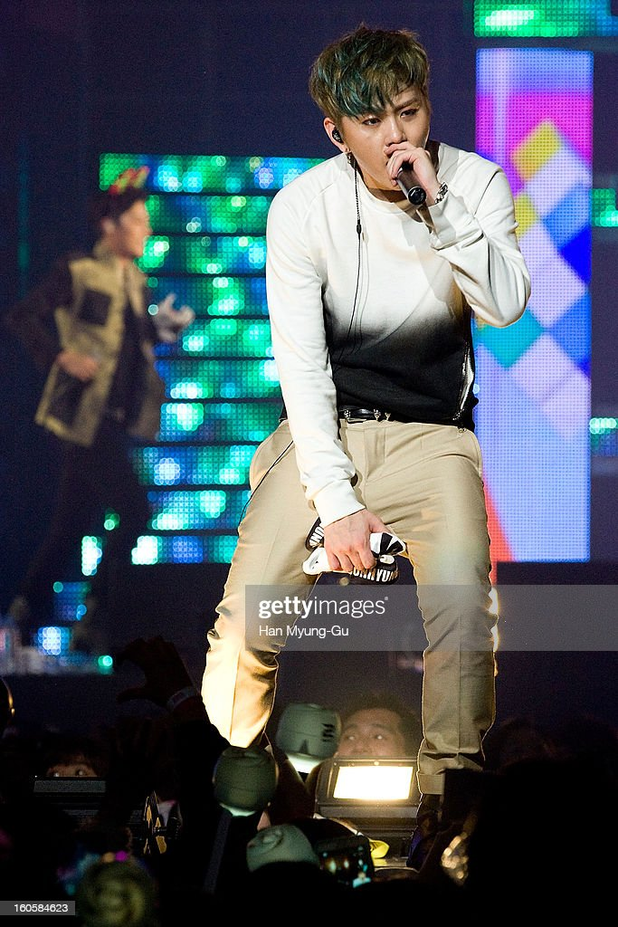 Yong Jun-Hyung of South Korean boy band Beast performs onstage during the 2013 United Cube Concert at Jamsil Stadium on February 2, 2013 in Seoul, South Korea.