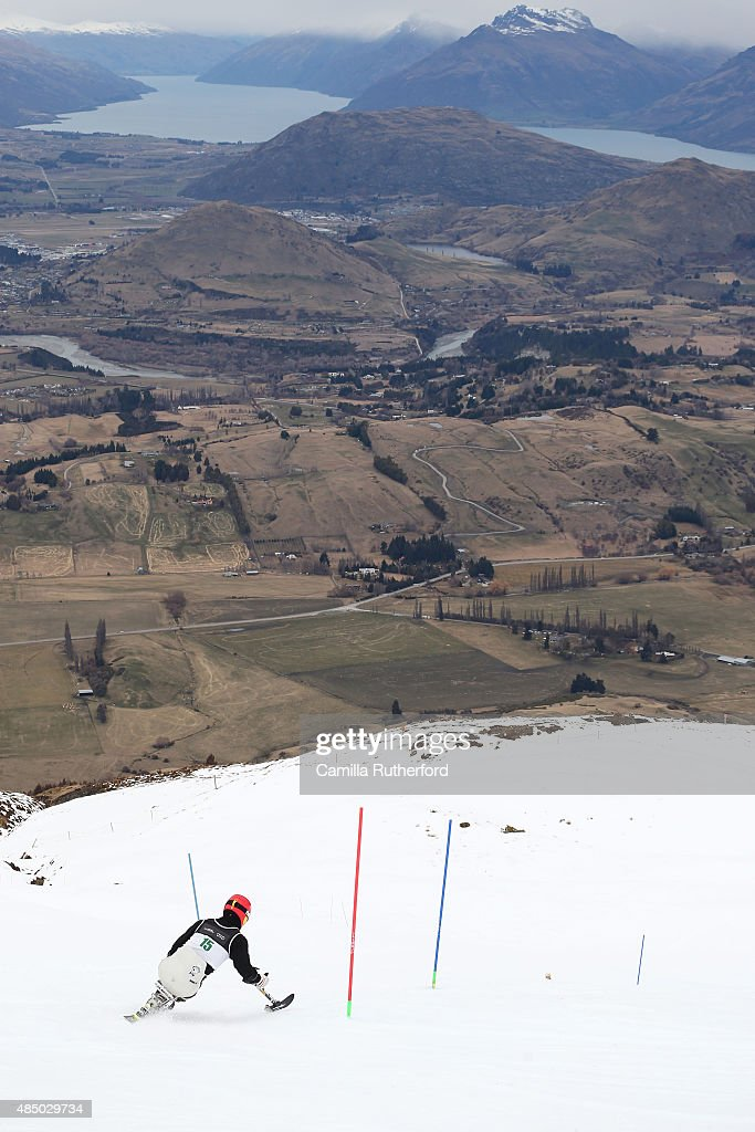 Yong Sam Jeon of Korea competes in the Men Slalom Sitting LW11 in the IPC Alpine Adaptive Slalom Southern Hemisphere Cup during the Winter Games NZ at Coronet Peak on August 24, 2015 in Queenstown, New Zealand.