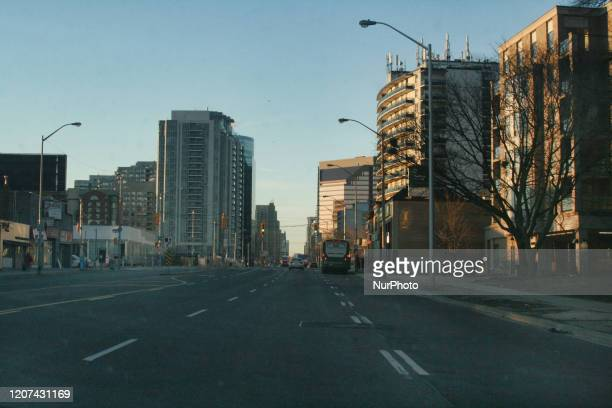 Yonge Street seen almost empty during the Monday morning rush hour due to the novel coronavirus in Toronto Ontario Canada on March 16 2020 Canadians...
