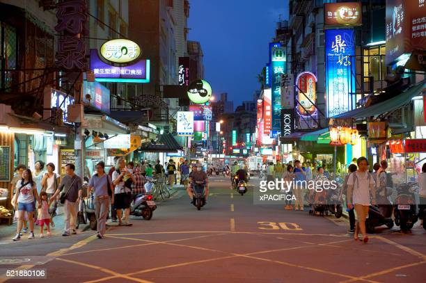 yongkang street in taipei, taiwan, a street filled with notable restaurants and eateries. - taiwan stock pictures, royalty-free photos & images