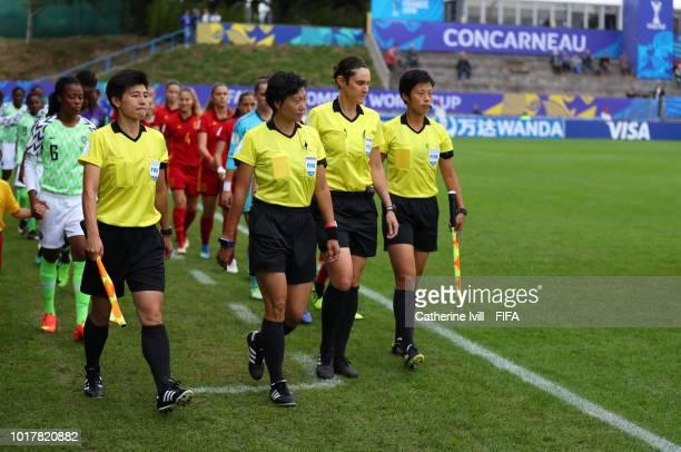 Yongmei Cui Referee Liang Qin Kate Jacewicz and Yan Fang during the FIFA U20 Women's World Cup France 2018 Quarter Final quarter final match between...