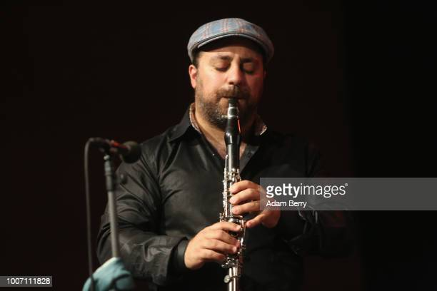 Yoni Kaston of the band Siach HaSadeh performs during a concert at Yiddish Summer Weimar on July 28, 2018 in Weimar, Germany. The annual four-week...