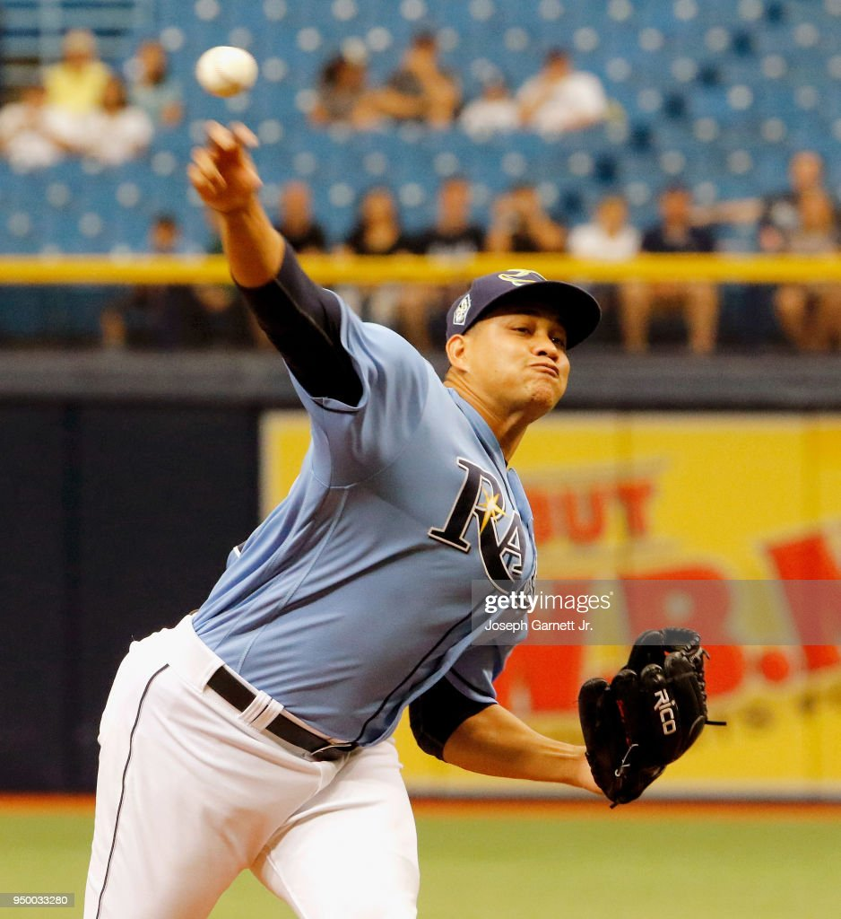 Yonny Chirinos #72 of the Tampa Bay Rays delivers a pitch during the first inning of their game against the Minnesota Twins at Tropicana Field on April 22, 2018 in St. Petersburg, Florida.