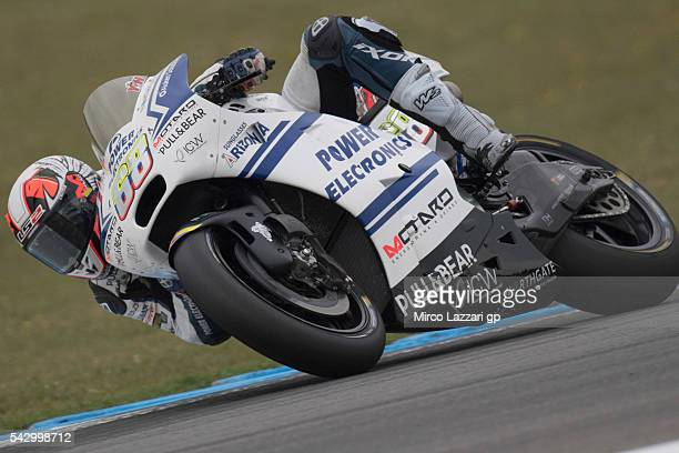 Yonny Hernandez of Colombia and Aspar Team MotoGP rounds the bend during the qualifying practice during the at MotoGP Netherlands Qualifying on June...