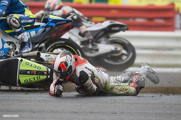Yonny Hernandez of Colombia and Energy TI Pramac Racing crashed out during the MotoGP race during the MotoGp Of Great Britain Race at Silverstone...