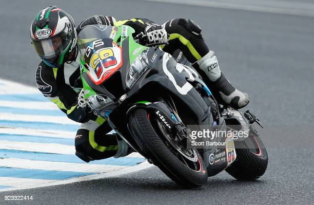 Yonny Hernandez of Colombia and Team Pedercini Racing rides in the FIM Superbike World Championship Free Practice session ahead of the 2018...