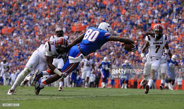 C'yontai Lewis of the Florida Gators reaches to score a touchdown during the first quarter of the game against the South Carolina Gamecocks at Ben...