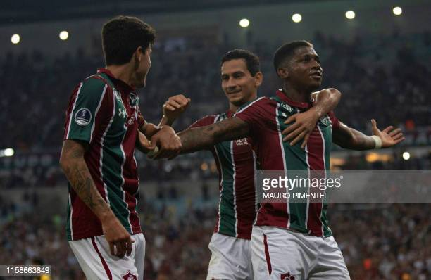 Yony Gonzalez of Brazil's Fluminense celebrates with teammates after scoring against Uruguay's Penarol during a Copa Sudamericana football match at...