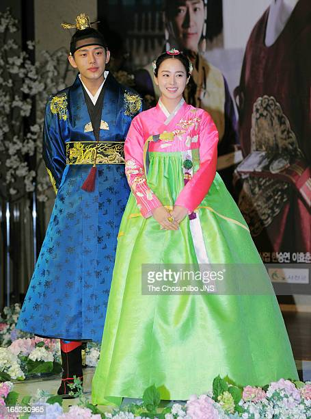 Yoo Ah-In and Kim Tae-Hee attend the SBS Drama 'Jang Ok-Jeong' press conference at the MVL Kintex on April 1, 2013 in Goyang, South Korea.