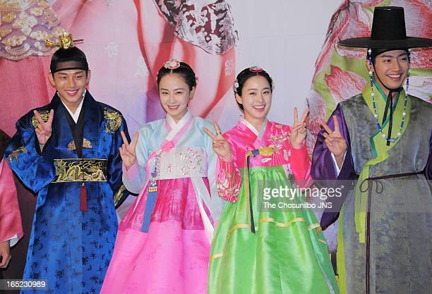Yoo AhIn Hong SooHyun Kim TaeHee and Lee SangYeob attend the SBS Drama 'Jang OkJeong' press conference at the MVL Kintex on April 1 2013 in Goyang...