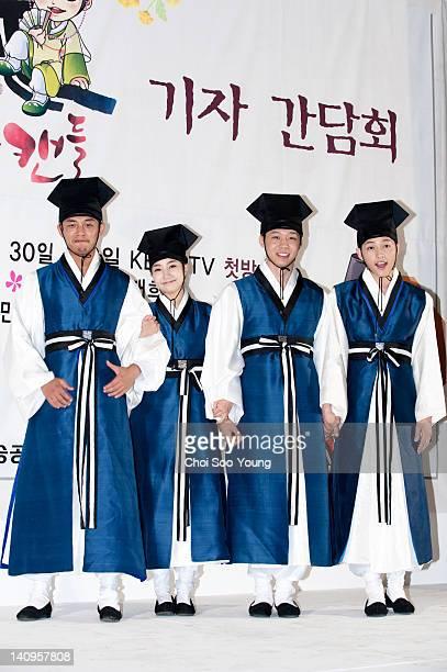 Yoo AhIn Park MinYoung Park YooChun and Song JoongKi attend the KBS2 Drama 'Sung Kyun Kwan Scandal' Press Conference at Gyeonggido South Korea