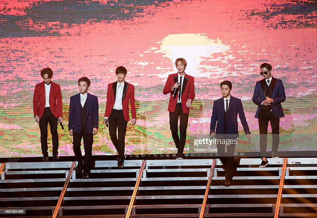 Yoo Chang-hyun, Lee Byung-hun, Lee Chan-hee, Bang Min-soo, Ahn Daniel, and Choi Jong-hyun of 'Teen Top' perform at the 2015 K-Pop Festival at Prudential Center on August 8, 2015 in Newark, New Jersey.