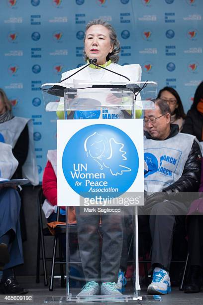 Yoo Soontaek attends the 2015 International Women's Day March at Dag Hammarskjold Plaza on March 8 2015 in New York City