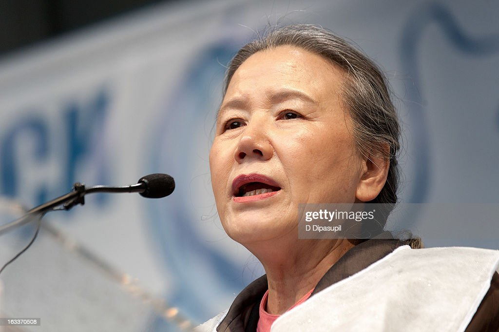 Yoo Soon-taek, wife of United Nations Secretary-General Ban Ki-moon, speaks on stage during the March On March 8 at the United Nations on March 8, 2013 in New York City.
