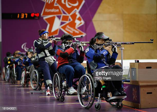 Yoojeong Lee of the Republic of Korea shoots during the Women's R850m Rifle 3 PositionsSH1 final on day 8 of the London 2012 Paralympic Games at The...