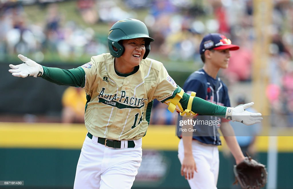 Yoomin Lee #16 of the Asia-Pacific team from South Korea celebrates after hitting a solo home run in the fifth inning against the Mid-Atlantic Team from New York during the Little League World Series Championship Game at Lamade Stadium on August 28, 2016 in South Williamsport, Pennsylvania.