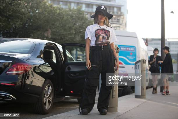 Yoon Ahn of Ambush after the ALYX show during Paris Mens Fashion Week Spring/Summer 2019 on June 24, 2018 in Paris, France.