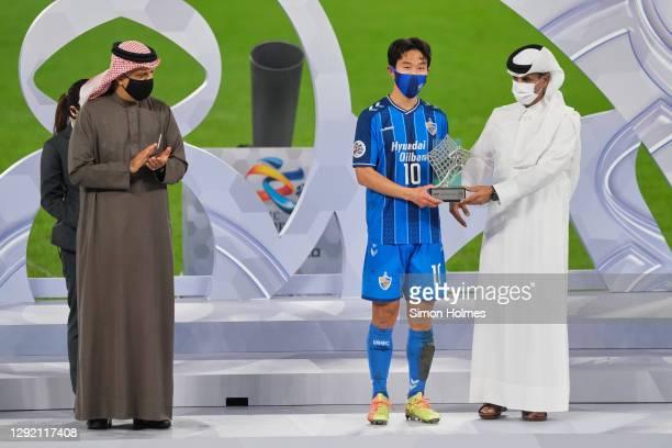 Yoon Bit-garam of Ulsan Hyundai collects the best player of the tournament award from Sheikh Hamad bin Khalifa bin Ahmed Al Thani, head of the QFA,...