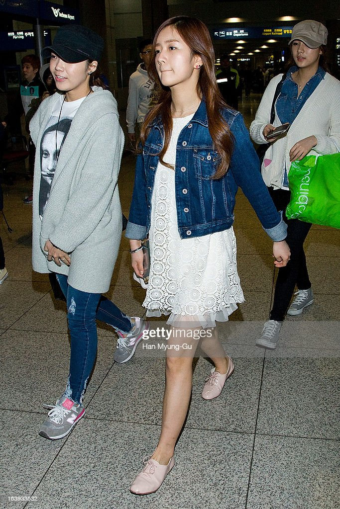 Yoon Bo-Mi of South Korean girl group A Pink is seen upon arrival at Incheon International Airport on March 17, 2013 in Incheon, South Korea.