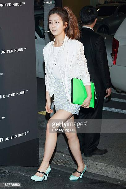 Yoon BoMi of South Korean girl group A Pink poses for media the 'United Nude' flagship store opening at United Nude Gangnam Store on April 5 2013 in...