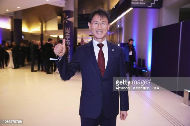 Yoon Deokyeo coach of Republic of Korea arrives for the FIFA Women's World Cup France 2019 Draw at La Seine Musicale on December 8 2018 in Paris...
