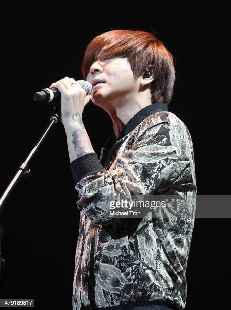 Yoon Do Hyun of YB performs onstage at The Wilshire Ebell Theatre on March 16 2014 in Los Angeles California