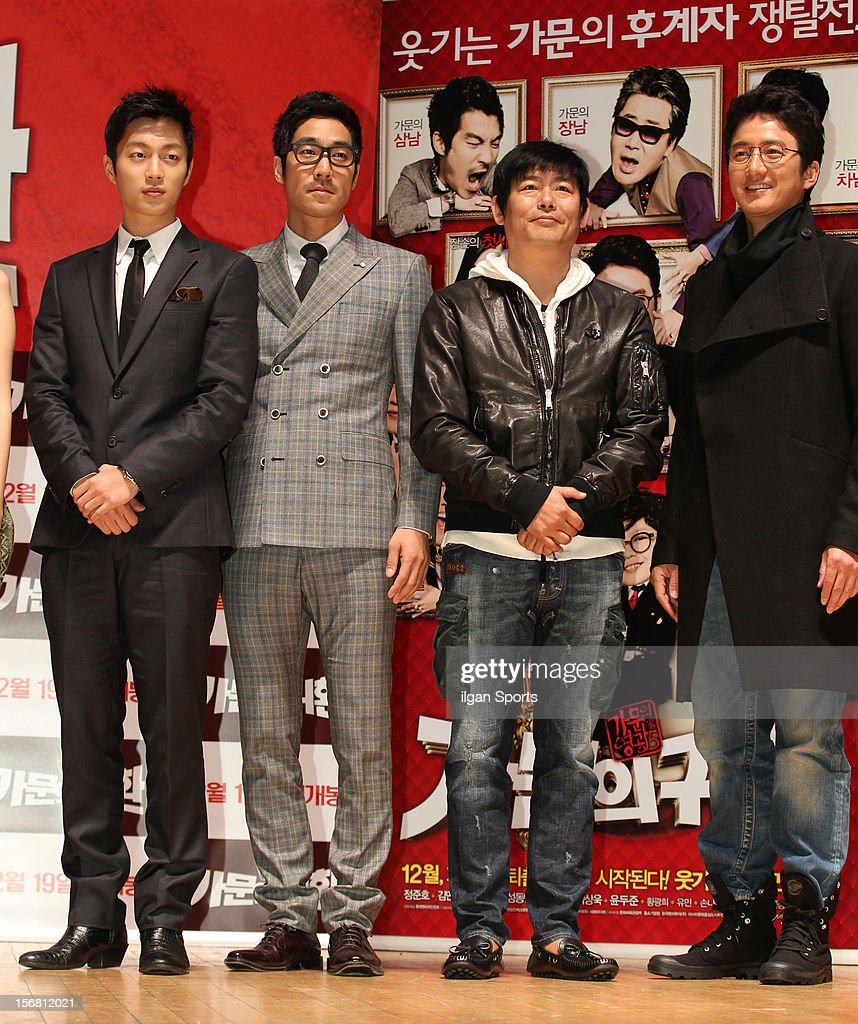 Yoon Du-Jun, Park Sang-Uk, Sung Dong-Il, and Jung Jun-Ho attend the 'Return Of The Family' press conference at KonKuk University on November 19, 2012 in Seoul, South Korea.