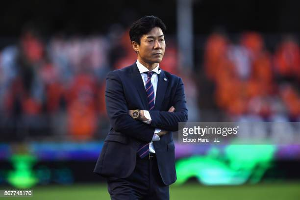 Yoon Jung Hwan looks on during the JLeague J1 match between Cerezo Osaka and Omiya Ardija at Kincho Stadium on October 29 2017 in Osaka Japan