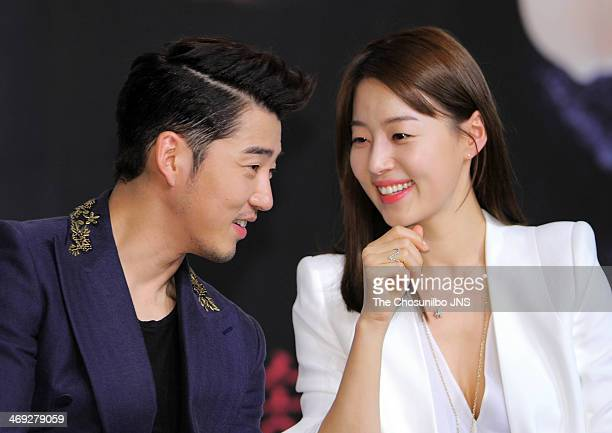 Yoon KyeSang and Han JiHye attend the KBS drama 'The Full Sun' press conference at Amoris Wedding Hall on February 13 2014 in Seoul South Korea