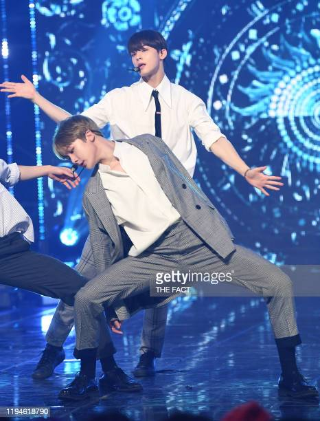 Yoon SanHa and Cha EunWoo of ASTRO perform on stage during the MBC Music Channel 'Show Campion' Live Broadcast at MBC Dream Center on December 04...
