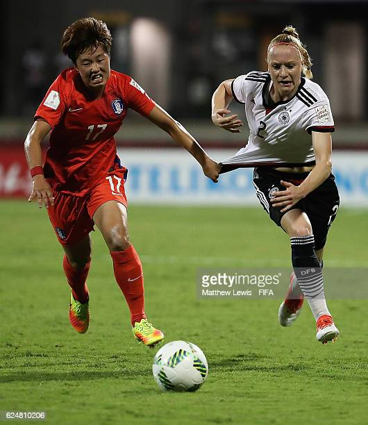 Yoon Sunyoung of Korea Republic and Anna Gerhardt of Germany challenge for the ball during the FIFA U20 Women's World Cup Papua New Guinea 2016 Group...