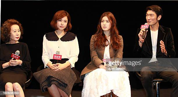 Yoon YeoJeong Lee HaNui Jung EunChae and Kim NamJin attend the 'Behind The Camera' Press Conference at Apgujeong CGV on February 6 2013 in Seoul...
