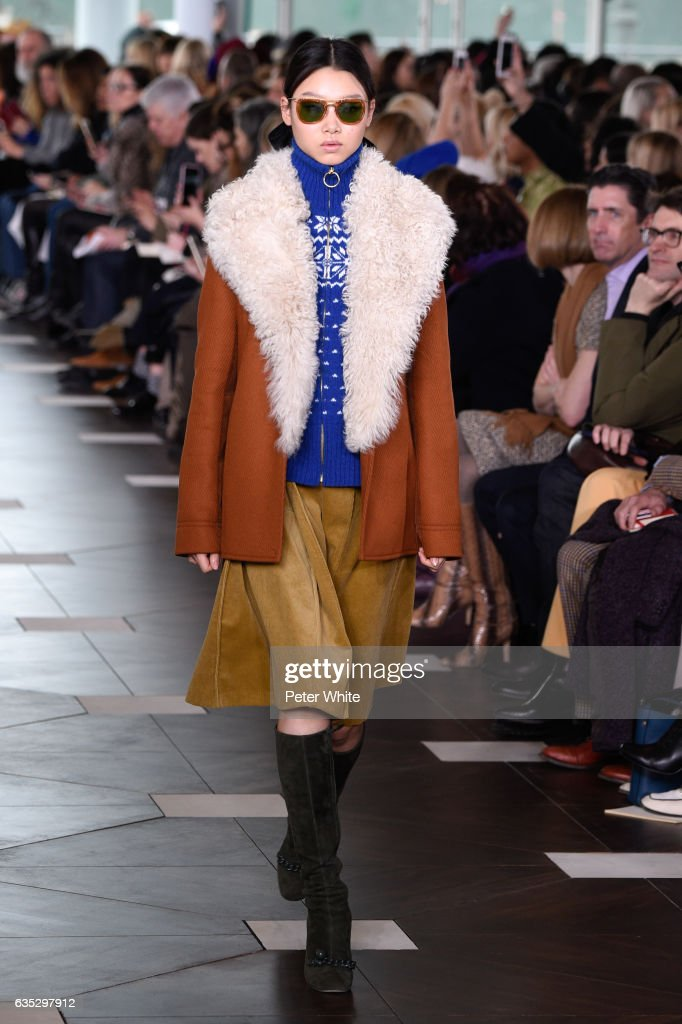Yoon Young Bae walks the runway at the Tory Burch FW17 Show during New York Fashion Week at at The Whitney Museum of American Art on February 14, 2017 in New York City.
