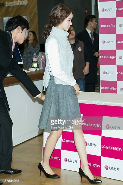 Yoona of South Korean girl group Girls' Generation attends Girls' Generation autograph session for LG at LG Gangnam Store on November 12 2013 in...