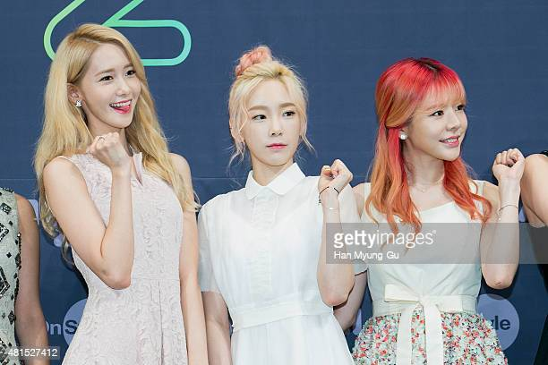 Yoona Taeyeon and Sunny of South Korean girl group Girls' Generation attend the OnStyle 'Channel SNSD' Press Conference at Imperial Palace Hotel on...