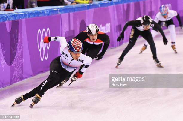 Yoongy Kwak of Korea leads the turn during the Men's 5000m Relay Short Track Speed Skating heat 2 on day four of the PyeongChang 2018 Winter Olympic...