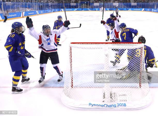 YoonJung Park of Korea celebrates the goal of SooJin Han next to Emilia Ramboldt of Sweden to tie the game 11 during the Women's Classifications game...
