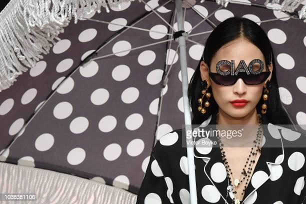 Yoonmi Sun walks the runway at the Dolce Gabbana show during Milan Fashion Week Spring/Summer 2019 on September 23 2018 in Milan Italy