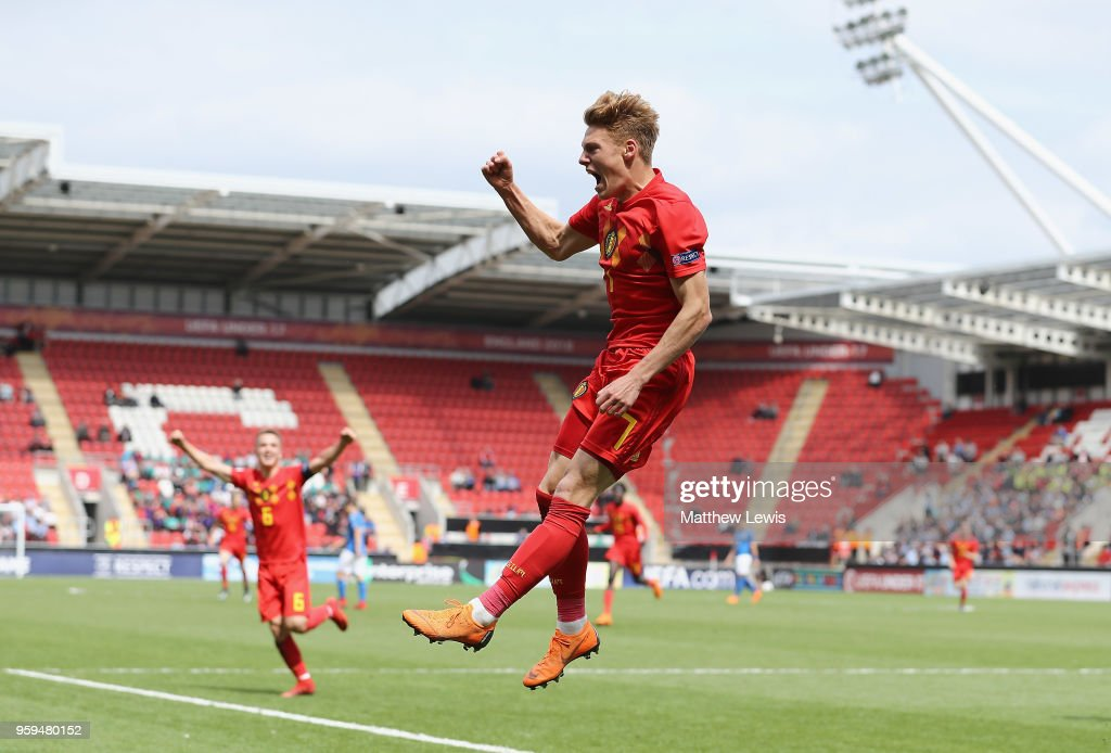 Yorbe Vertessen of Belgium celebrates his goal during the UEFA European Under-17 Championship Semi Final match between Italy and Belgium at the New York Stadium on May 17, 2018 in Rotherham, England.