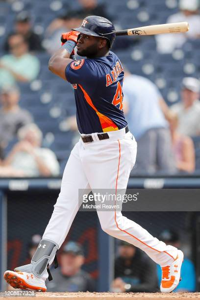 Yordan Alvarez of the Houston Astros at bat against the Miami Marlins in the third inning of a Grapefruit League spring training game at FITTEAM...