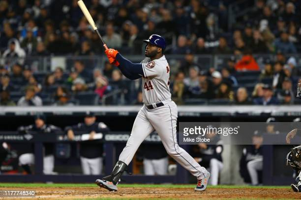 Yordan Alvarez of the Houston Astros bats against the New York Yankees in game five of the American League Championship Series at Yankee Stadium on...