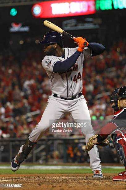 Yordan Alvarez of the Houston Astros bats against the Washington Nationals in Game Four of the 2019 World Series at Nationals Park on October 26 2019...