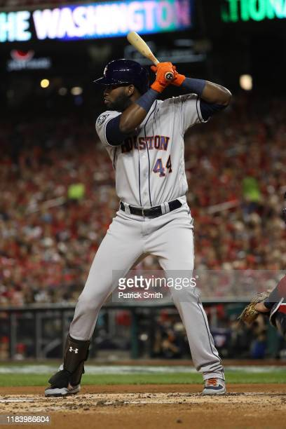 Yordan Alvarez of the Houston Astros bats against the Washington Nationals in Game Five of the 2019 World Series at Nationals Park on October 27 2019...
