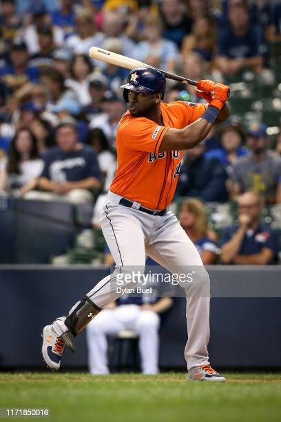 Yordan Alvarez of the Houston Astros bats in the first inning against the Milwaukee Brewers at Miller Park on September 02 2019 in Milwaukee Wisconsin